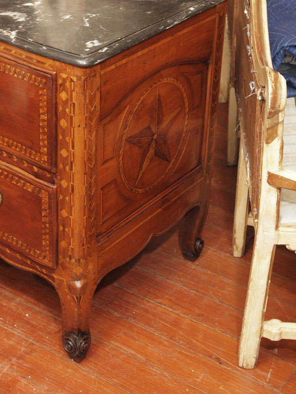 Dolphin Wood Inlays : Veronese fruitwood commode with dolphin inlay for sale at