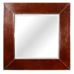Leather and Chrome Framed Beveled Mirror
