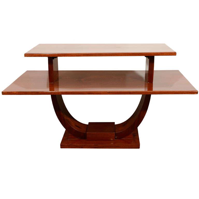 Jules Leleu, Mahogany Side Table, France, C. 1930