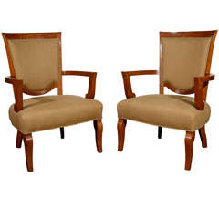 Jules Leleu, Pair of Oak Armchairs, France, C. 1948