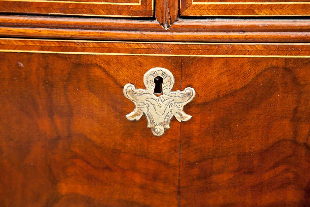 Georgian English Walnut Slant Front Bureau/Desk with String Inlay For Sale