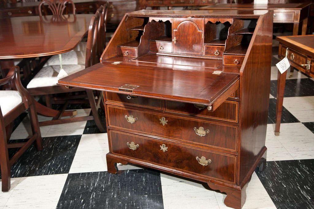 19th Century English Walnut Slant Front Bureau/Desk with String Inlay For Sale