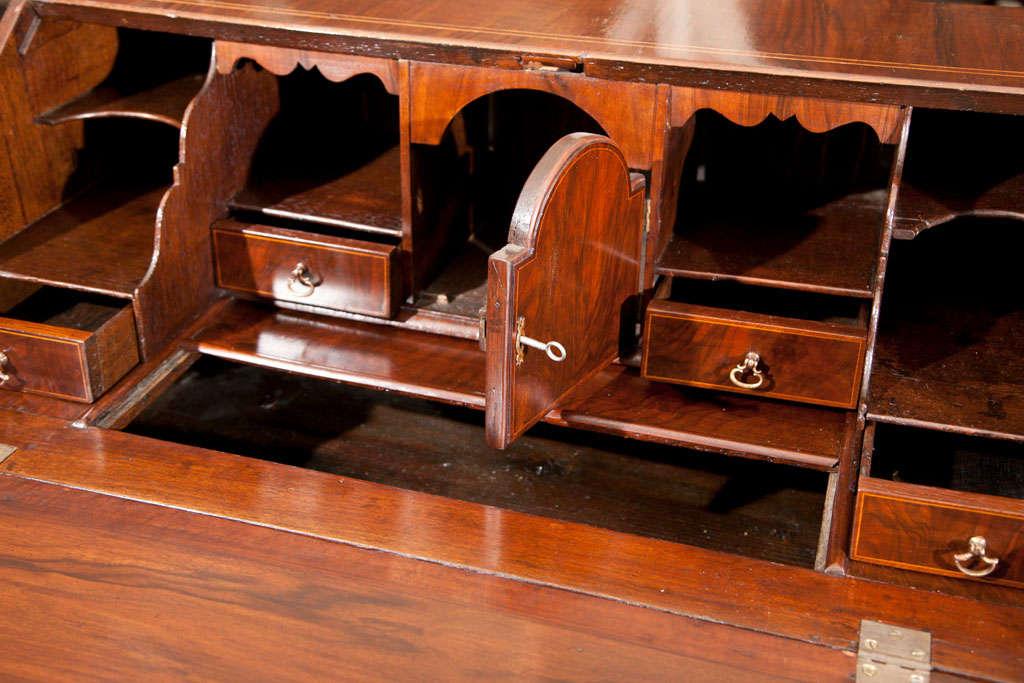 English Walnut Slant Front Bureau/Desk with String Inlay For Sale 2