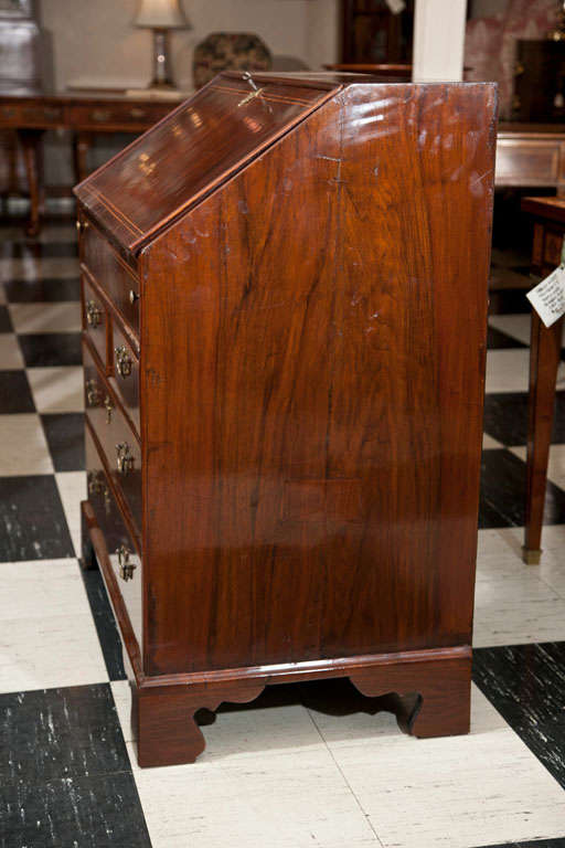 english walnut slant front bureau with string inlay for sale at 1stdibs. Black Bedroom Furniture Sets. Home Design Ideas