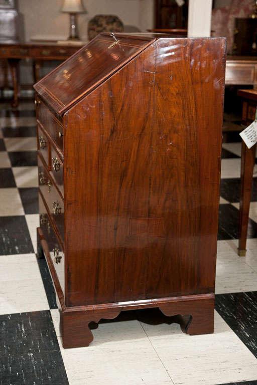 English Walnut Slant Front Bureau/Desk with String Inlay For Sale 3
