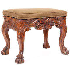 19th Century Heavily Carved Mahogany Stool on Paw Feet