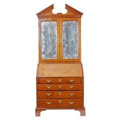 18th Century Georgian Mahogany Bureau Bookcase with Mirrored Doors