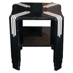 Art Deco Black and White Lacquer Octagonal Side Table