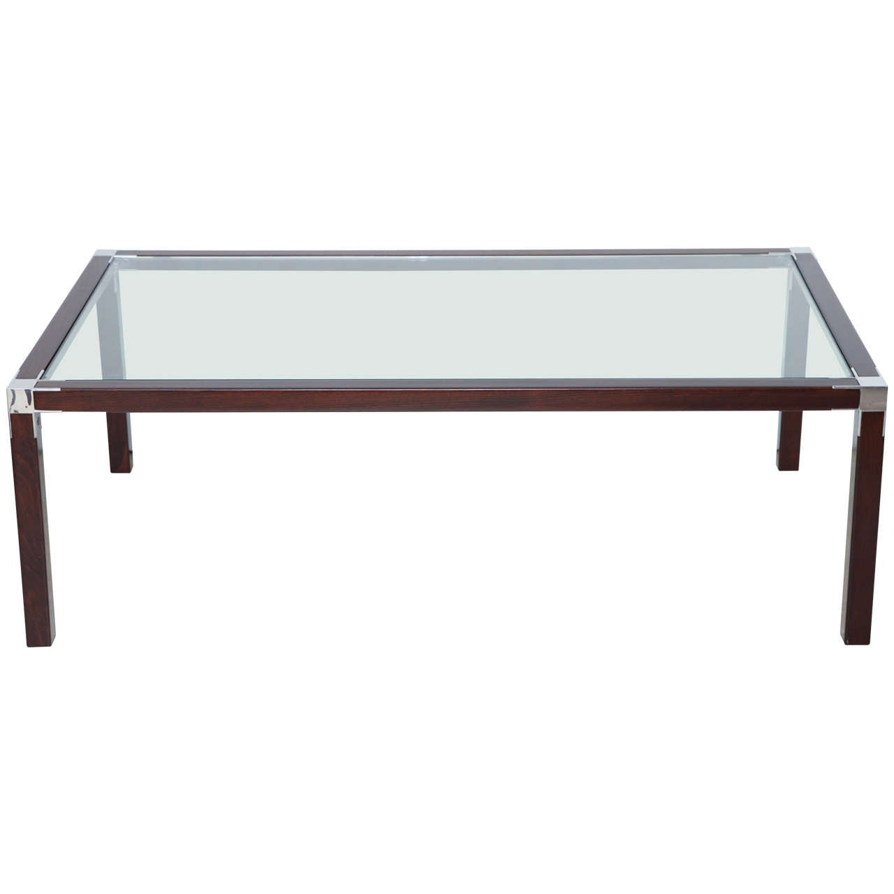 Mid century modern beech wood and nickel coffee table with for Contemporary glass top coffee table