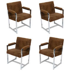 Milo Baughman Chrome Chairs, Set of Four, USA, 1960s