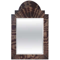 Painted Faux Palmwood Mirror, circa 1980