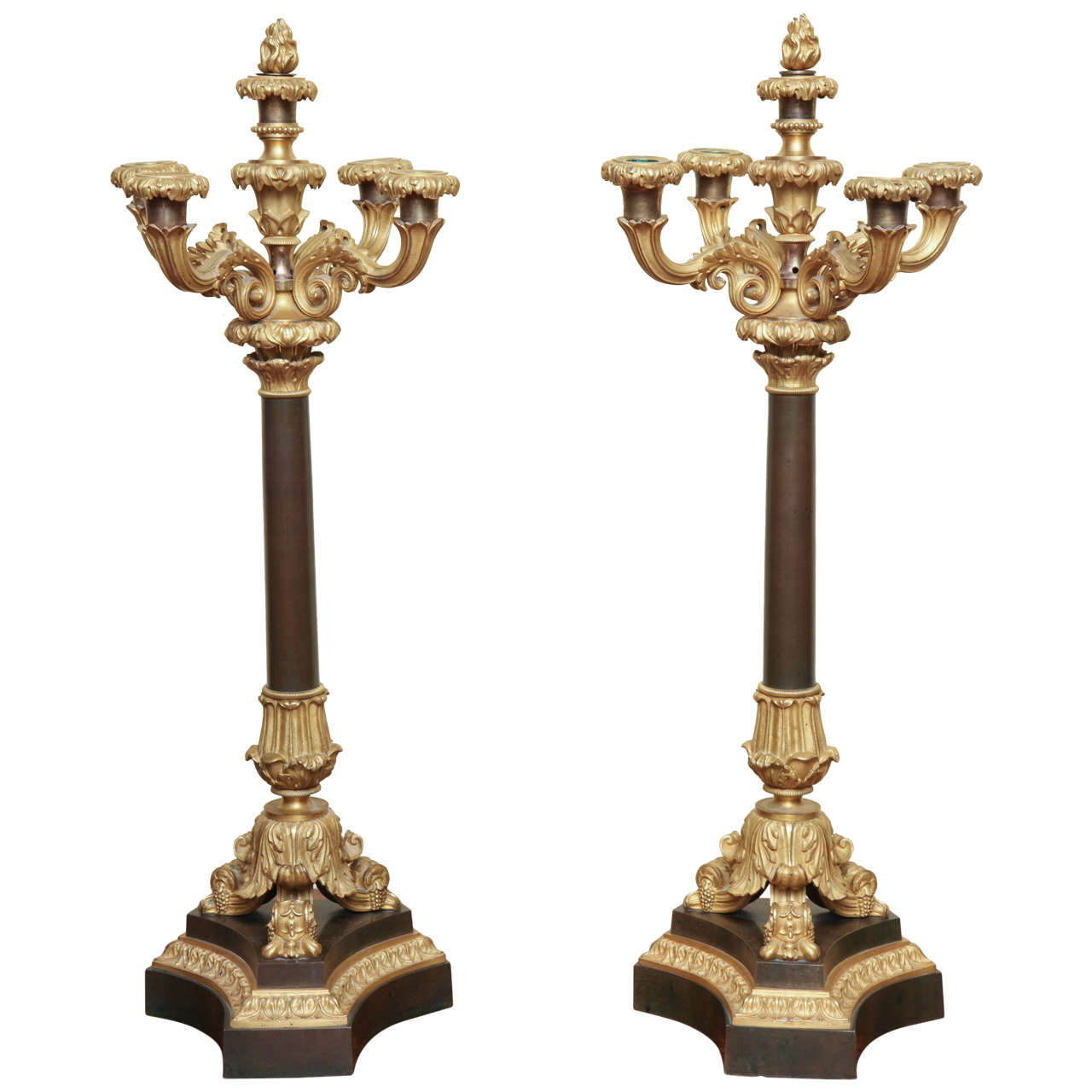 Pair of Louis Philippe Ormolu and Bronze Candelabra, French, circa 1830