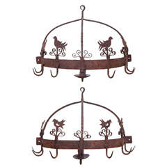 Pair of Wrought Iron Flush-Mounted Game Racks, American, 18th Century