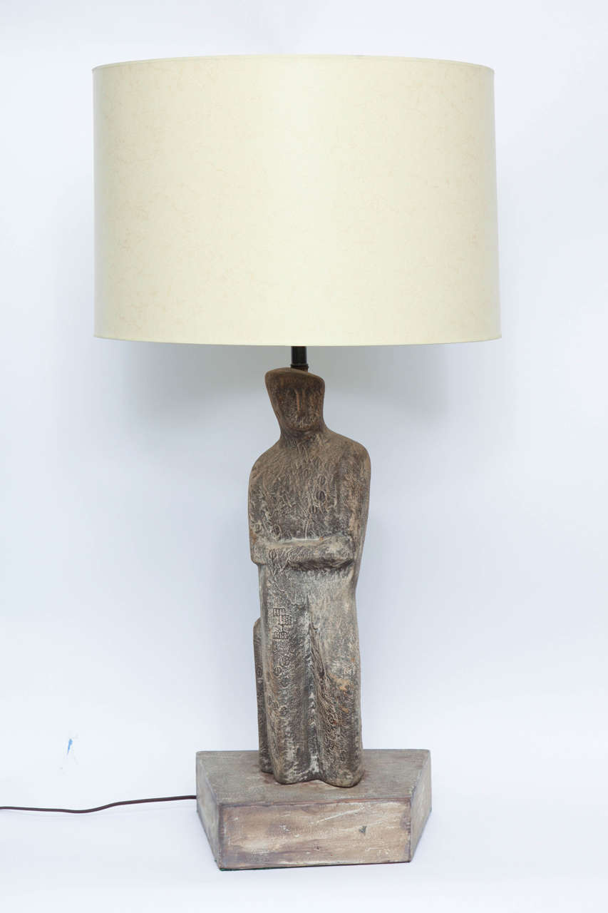 A 1950s abstract sculptural ceramic table lamp signed Marianna Von Allesch. Shade not included