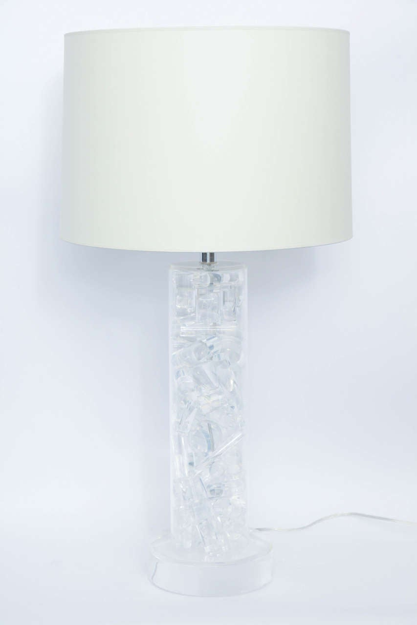 A 1960s Modernist lucite table lamp Shade not included