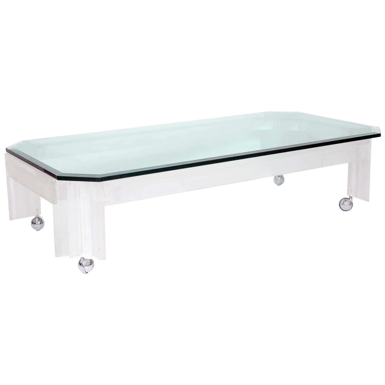 Oblong Lucite Coffee Table
