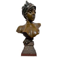 Large Art Nouveau Bronze Bust by Villanis