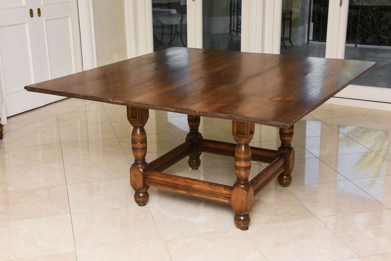 this antique french knotty pine square dining table is no longer