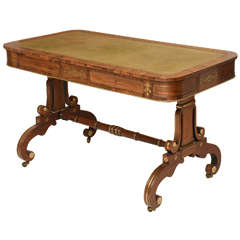 Regency Leather Top Brass Inlaid Rosewood Library Table