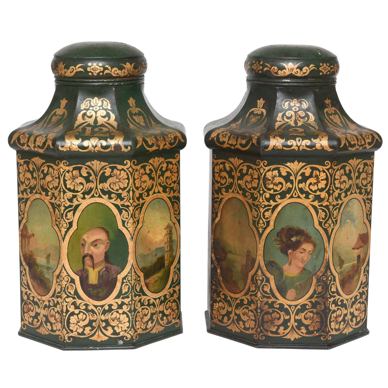 Pair of English 19th Century Chinoiserie Tole Tea Canisters