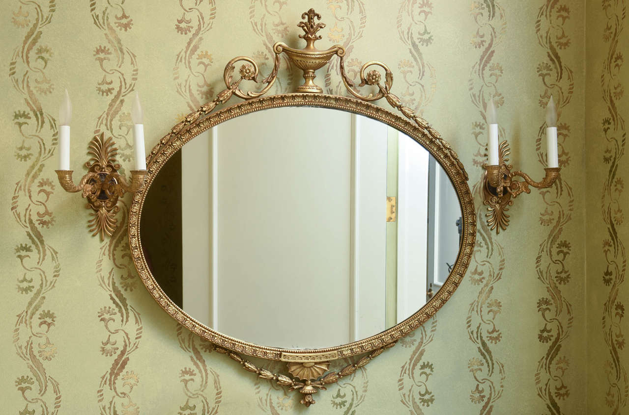 Adam style giltwood oval mirror at 1stdibs for Adam style mirror