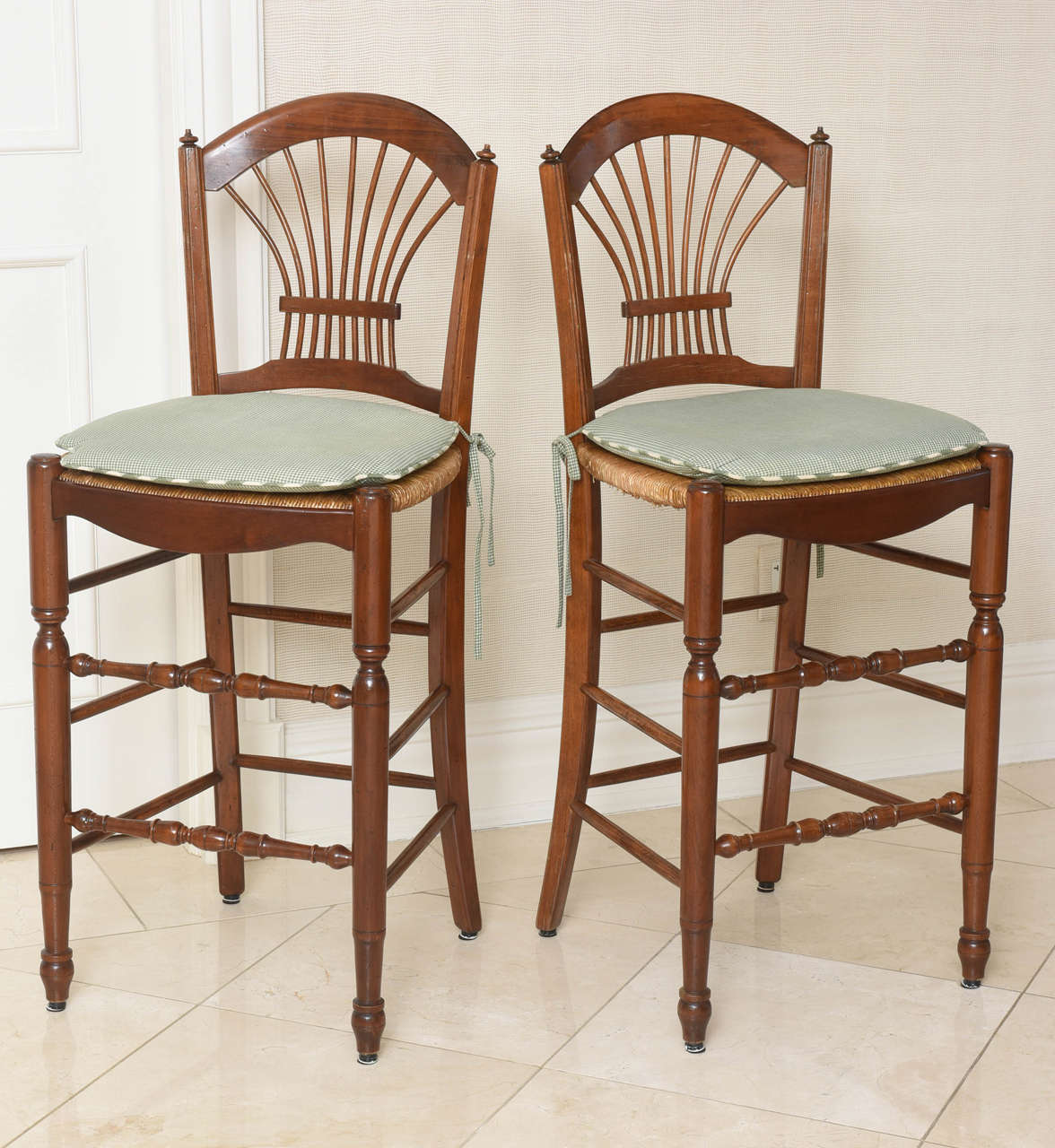 Set Of Four French Walnut Bar Stools For Sale At 1stdibs