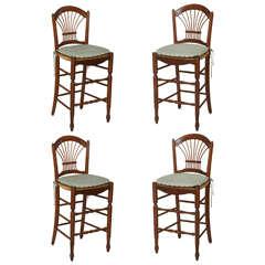 Set of Four French Walnut Bar Stools