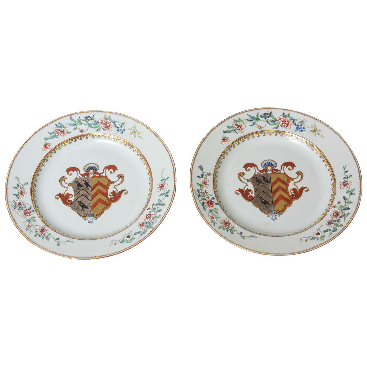 Pair Of 18th Century Chinese Export Porcelain Armorial