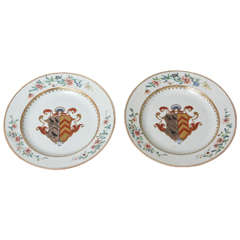 Pair of 18th Century Chinese Export Porcelain Armorial Plates