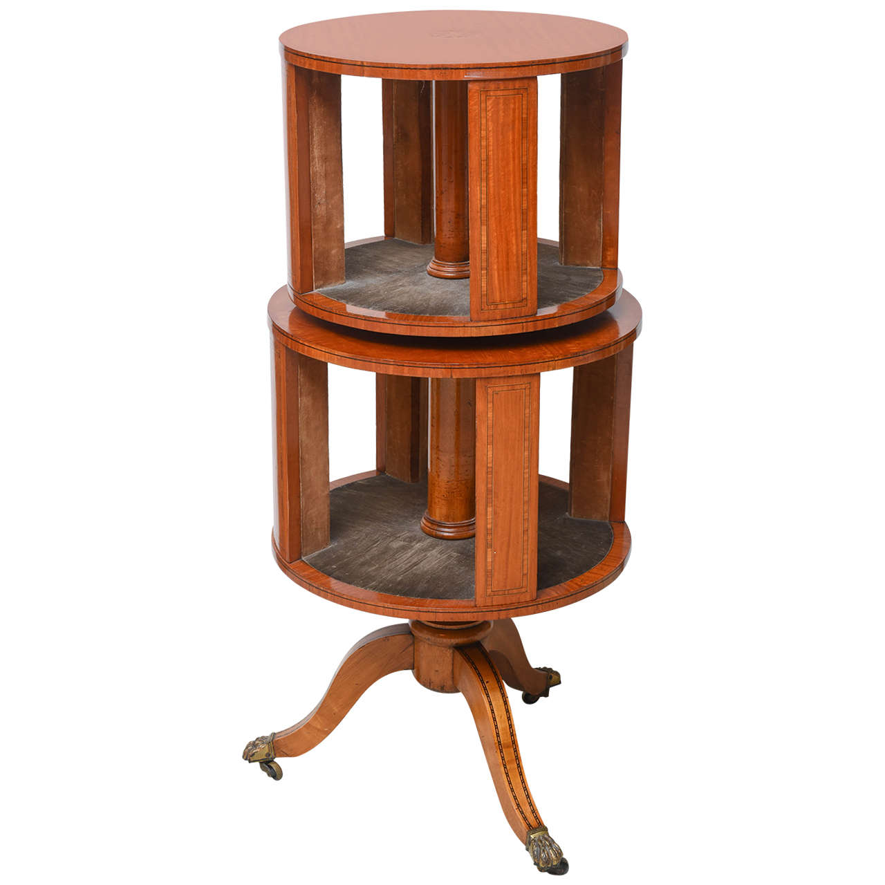 Regency Style Satinwood Revolving Circular Bookcase For Sale
