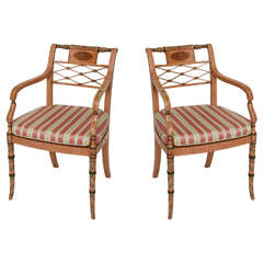 Pair of Regency Style Satinwood and Painted Armchairs