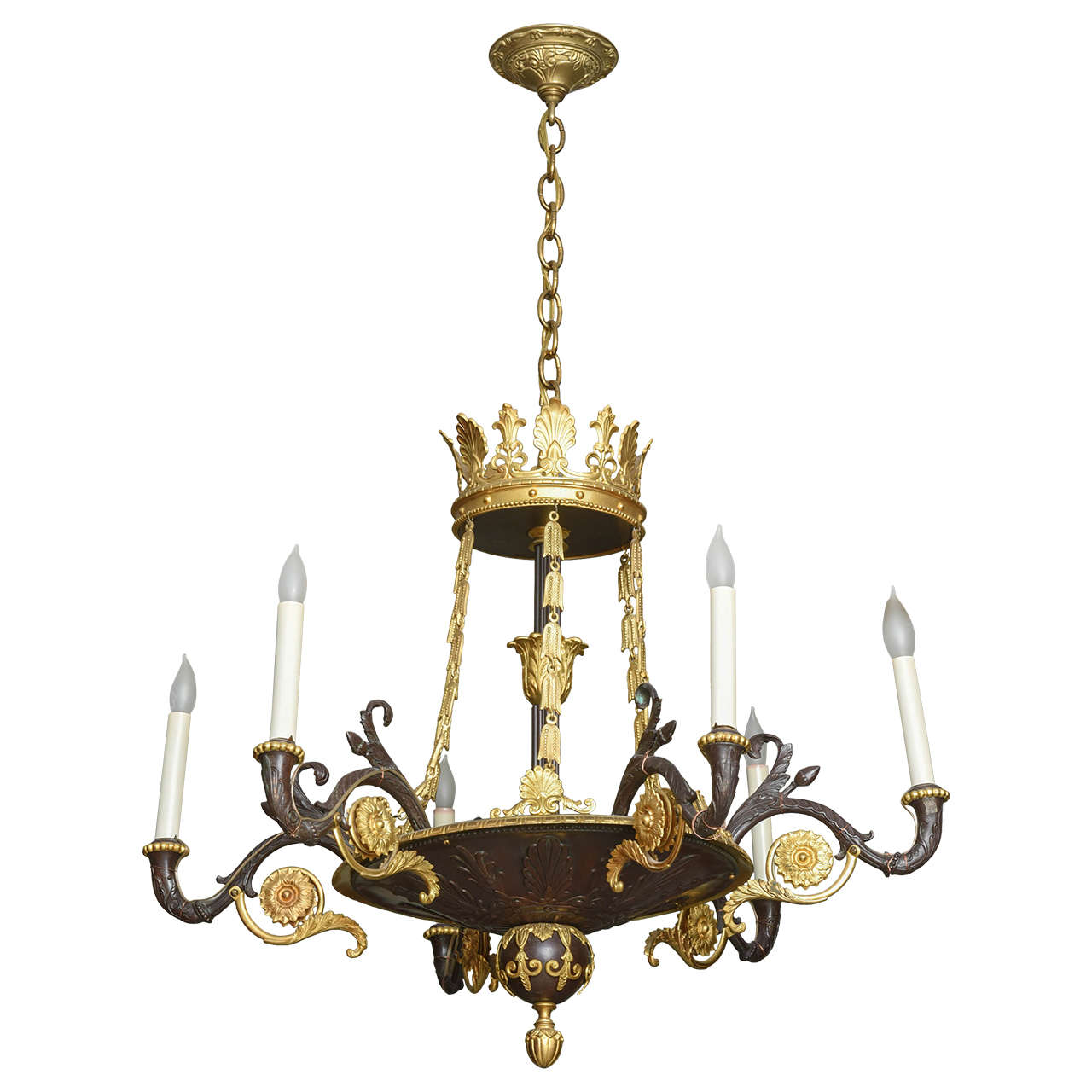 Charles X Bronze And Gilt Brass Chandelier For Sale At 1stdibs