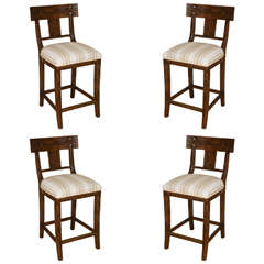 Set of Four Michael Taylor Walnut Bar Stools