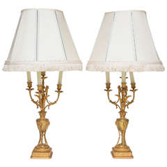 Superb Pair of French Neoclassical Ormolu Candelabra Lamps