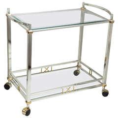 Italian Nickel-Plated and Brass Beveled Glass Bar Cart
