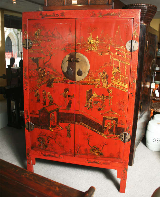 19th Century Qing Dynasty Large Red Lacquer Chinoiserie Cabinet at ...