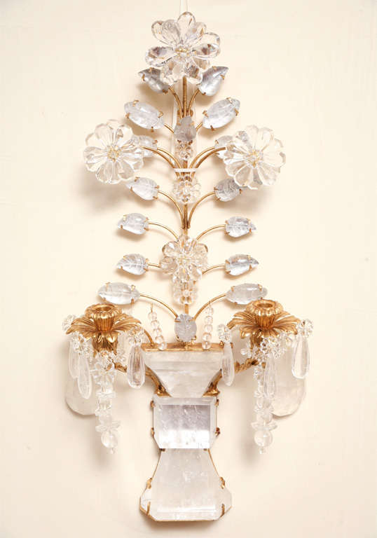 Set of Four Rock Crystal and Gilt Metal Chinoiserie Style Wall Light Sconces 2