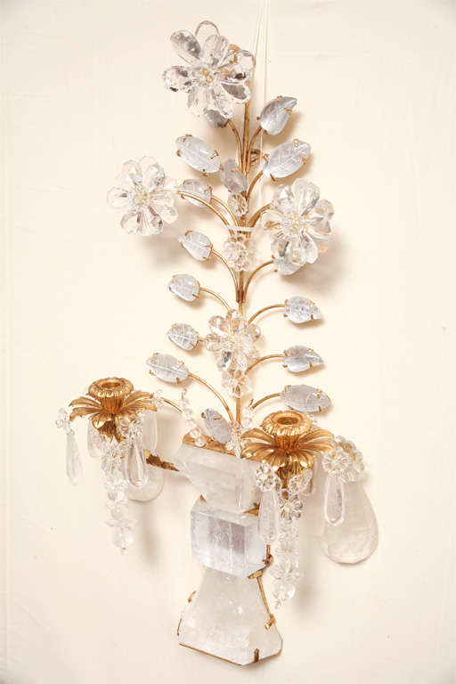 Set of Four Rock Crystal and Gilt Metal Chinoiserie Style Wall Light Sconces 3