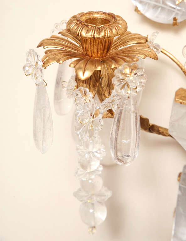 Set of Four Rock Crystal and Gilt Metal Chinoiserie Style Wall Light Sconces 4