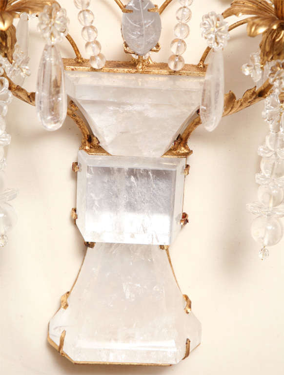 Set of Four Rock Crystal and Gilt Metal Chinoiserie Style Wall Light Sconces 5