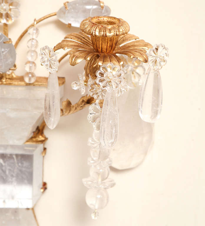 Set of Four Rock Crystal and Gilt Metal Chinoiserie Style Wall Light Sconces 6