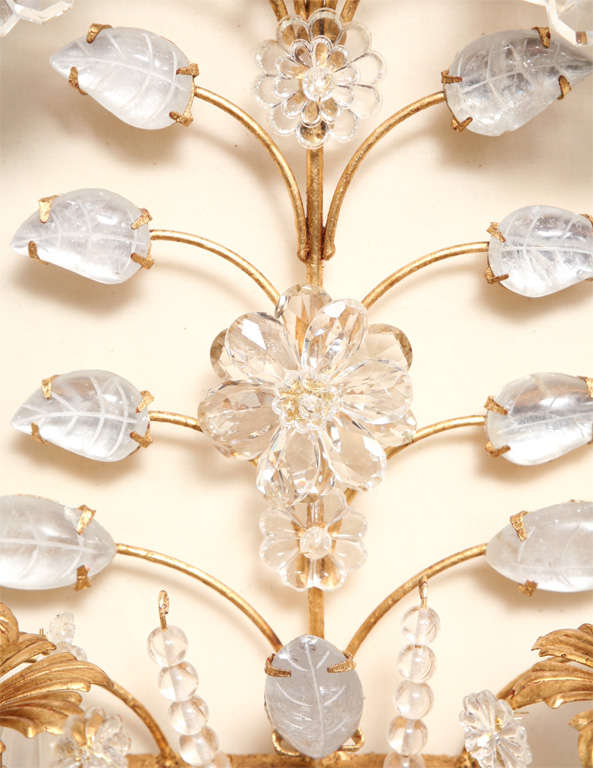 Set of Four Rock Crystal and Gilt Metal Chinoiserie Style Wall Light Sconces 7