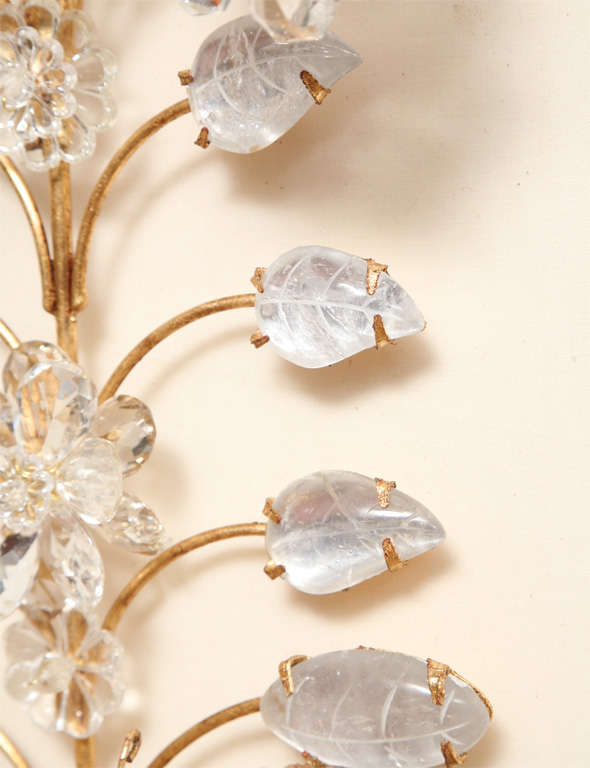 Set of Four Rock Crystal and Gilt Metal Chinoiserie Style Wall Light Sconces 10