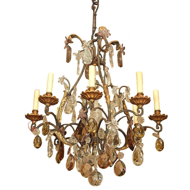 Cage Frame Eight Light Crystal Chandelier at 1stdibs