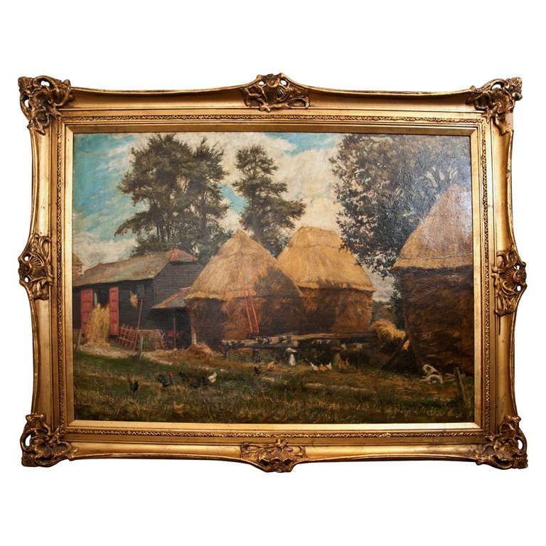 Oil on Canvas English Barnyard Scene with Staddlestones