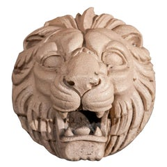 Fine Pair of Fireclay Lion Roundels/Fountainmasks
