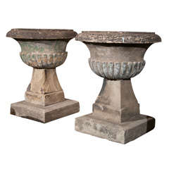 Early Pair of English Carved Stone Urns