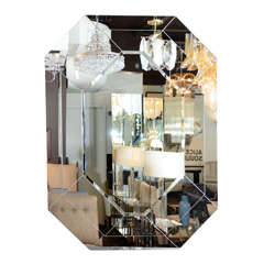 Gorgeous 1970s Octagonal Beveled Mirror