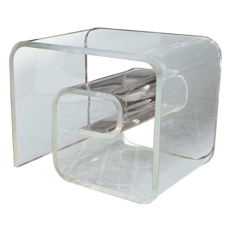 Greek Key Style Lucite Side Table At 1stdibs