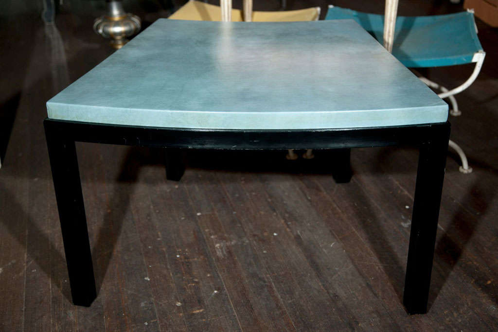 American Curved Aqua Leather Top Table Widdicomb Style For Sale